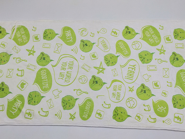 Microfiber Kids Towel Green Printed